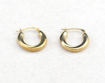 Gold Hoops, Gold Hoop Earrings, 10 Kt Gold Earrings, Gold Earrings, Wedding Jewelry, Bride Jewelry      J1087