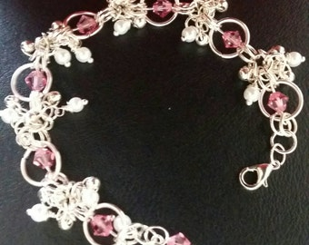 Beautiful Rose Swarovski Crystal Bracelet