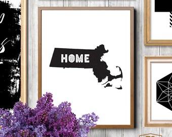 MASSCHUSETTS home decor Massachusetts wall decor Massachusetts wall art Massachusetts state map print MA state map art