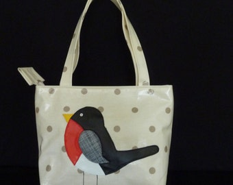 Childs Bag in Fun Practical Oilcloth with Robin Appliqué