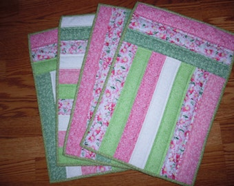 4 Machine Pieced and Quilted place mats