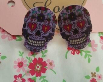Sweet sugar skull earings  (purple)