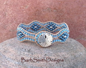 Blue Beaded Leather Cuff Wrap Bracelet - The Curvy One at the Beach