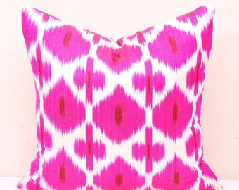 Pink Ikat Pillow Cover - Pink Ikat pillow - Ikat Pillow- Ikat Cushion Cover - Designer pillow-Decorative pillow-Throw ikat pillow