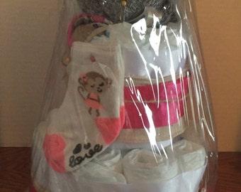 Pink Sock Monkey diaper cake baby shower new baby