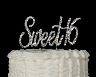 Sweet 16 Cake Topper, 16th Birthday, Silver Rhinestone Number Decoration, Sixteen Party Supplies and Decoration Ideas, Words Centerpiece