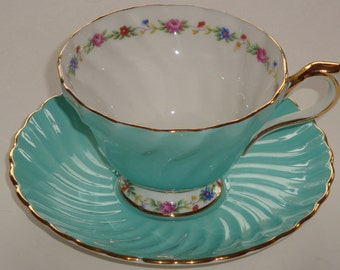 Aynsley England #2258 Turquoise with Delicate Florals Tea Cup & Saucer
