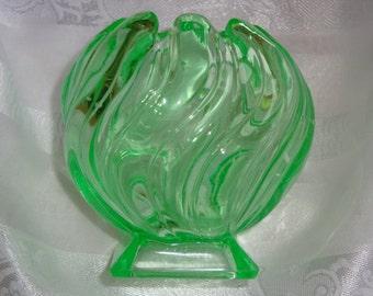 Vintage Green Glass Swwirl Pattern Vase