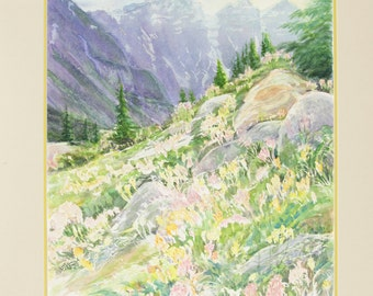 ORIGINAL painting, watercolor, mountains, scenic, idyllic, meadow, wild flowers, nature,  gift art, 18x24/mounted 22x28
