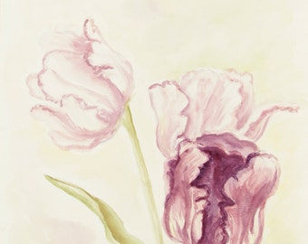 ORIGINAL painting, watercolor, signed, pink fancy tulips, floral, flowers, botanical, gift art, 18x24/mounted 22x28
