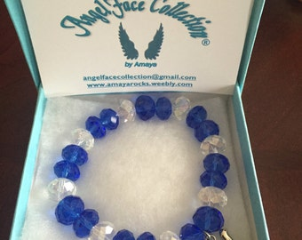 Blue and White Beaded Bracelet with Dove Charm