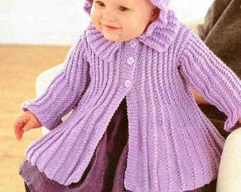 Knitting Pattern Swing Jacket : PDF Knitting Pattern Babys Sweater & Cardigans 16-22