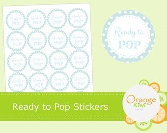 Ready to Pop Stickers - Blue Baby Shower Stickers - Ready to Pop Baby Shower Stickers - Baby Shower Cupcake Topper Stickers