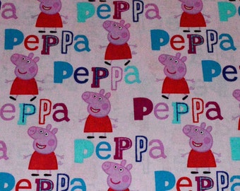 PEPPA PIG FABRIC / 1/2 Yard For Quilting / Pink / Cotton
