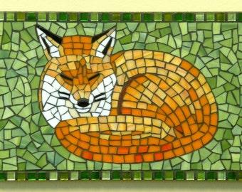 Sleepy Fox Stained Glass Mosaic