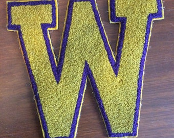 """Yellow and Purple Varsity Letter Patch - W or M - 9"""" x 8"""""""