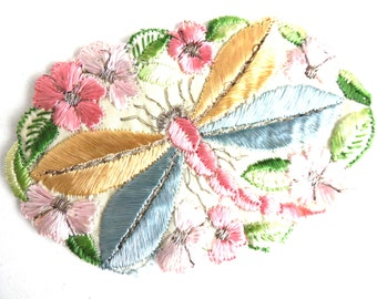 Dragonfly Applique 1930s vintage embroidered dragonfly applique Sewing supply Crazy quilt. #645GC8K15