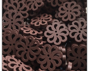 """10 or 20 Brown spiral flower buttons, wood buttons, novelty buttons, buttons, scrapbooking, sewing, crafts 20mm 3/4"""""""