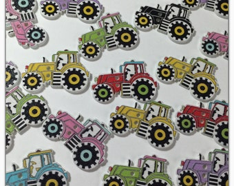 "10 or 20 Tractor buttons, random mix construction buttons, novelty, wood tractor transport, scrapbooking, sewing, crafts 30mm 1 3/16"" 30 mm"