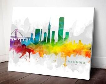 San Francisco Skyline Canvas, San Francisco Print, San Francisco Art, San Francisco Gift, San Francisco Cityscape, MMR-USCASF05C