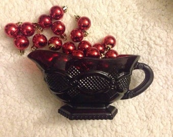 "Vintage AVON 1876 Cape Cod-Ruby Red ""Sandwich Glass"": One(1) Sauce / Gravy Boat [ TWO(2) Boats Available ]"