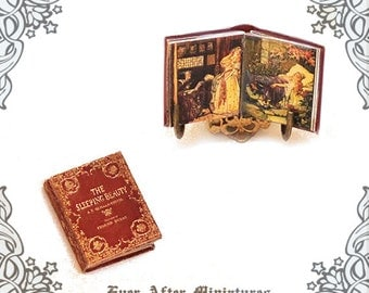 SLEEPING BEAUTY Dollhouse Miniature Book – 1:12 Openable Fairy Tale Sleeping Beauty Miniature Book - Sleeping Beauty Book Printable DOWNLOAD