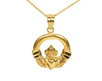 10k Yellow Gold Claddagh Necklace