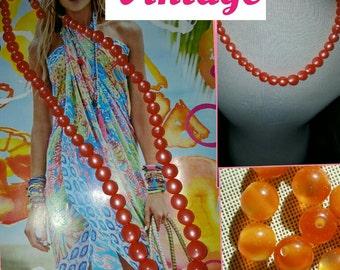 1960's Moonlight Orange bead necklace