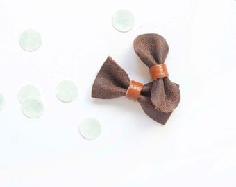 Baby Bow Barrettes Carmel & Dark Brown Crackled Leather Bow, Spring/Summer, Baby Adult Bow, Neutral Hair Accessories, Leather Headband,
