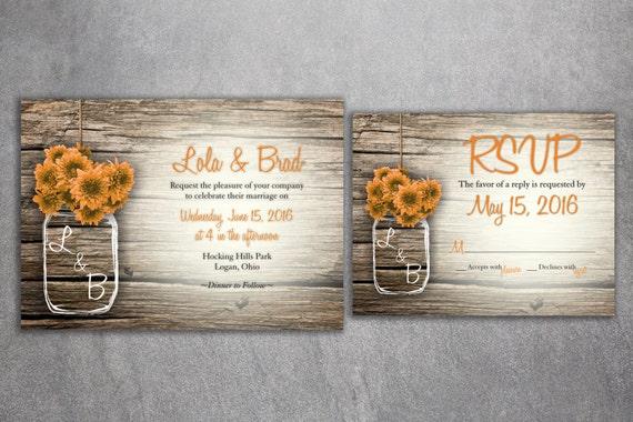 MASON JAR Flowers Rustic Wedding Invitation Set Printed