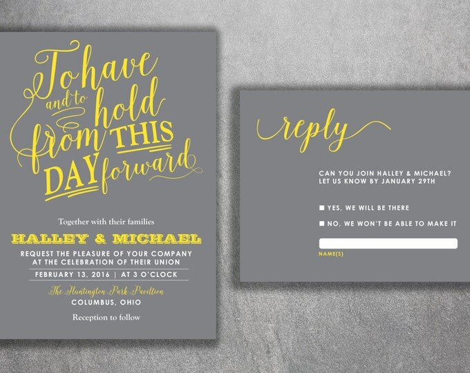 Affordable Wedding Invitations Set Printed - Cheap Wedding Invitations, Gray and Yellow Wedding Invitations, Unique, Announcements, Custom