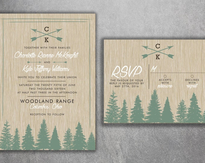 Woods Rustic Tree Wedding Invitation Set Printed, Country Wedding Invitations, Woods, Outdoors, Wedding Invitations, Affordable, Pine Trees