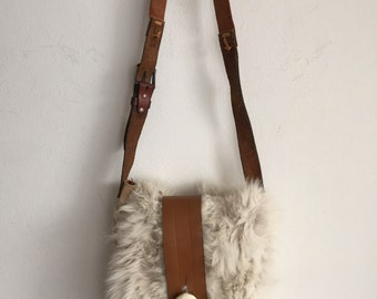 Real handmade crossbody bag, made from real polar fox fur soft fur fashionable bag new designer bag women's white color size - medium.