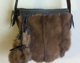 Small bag, brown mink bag,  comfortable women's shoulder bag, free shipping.