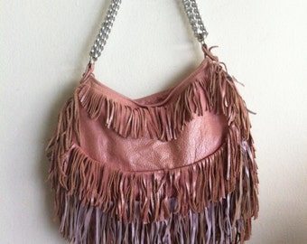Really original handmade crossbody bag from soft leather with elements of fashionable leather fringe vintage women's pink bag size-medium.