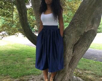 Satin midi full skirt.