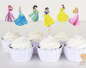 Lovely Princess cupcake toppers picks decoration for kids birthday party favors Decoration supplies