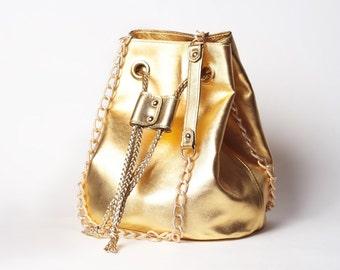 Gold Leather Shoulder Bucket Bag, Drawstring Bag, Gift For Her, Crossbody Bag