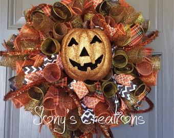 Fall wreath, fall deco mesh wreath, halloween wreath, autumn wreath, front door wreath,