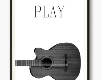 Guitar Print, Musical Instrument Poster, Music Photo, Classical Guitar Print, Black And White Home Decor, Musician Wall Art, Words Printable