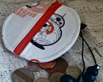 BB-8 Earbuds Holder - Star Wars Coin Purse - The Force Awakens Zippered Pouch - OOAK - Custom Order