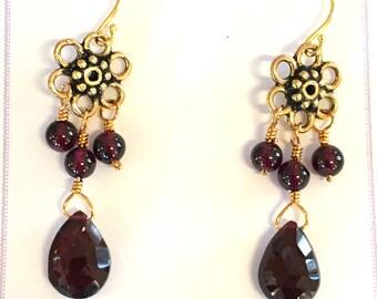 Garnet chandelier flower earrings