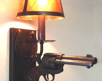 Rustic Replica Pistol Wall Sconce Light Fixture - DX803