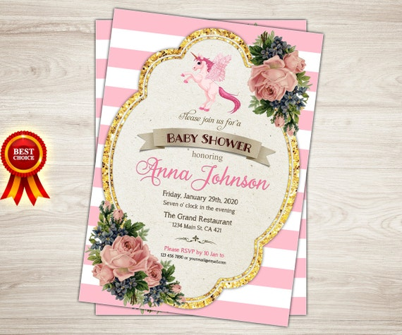 unicorn baby shower invitation pink and gold unicorn baby, Baby shower invitations