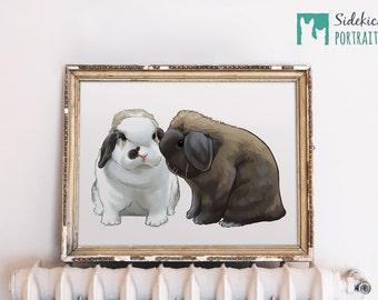 "Custom Rabbit Portrait - Regular Size - 12"""