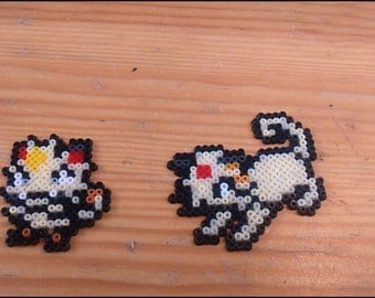 Pokemon Meowth and evolution Pixel Art mini Hama beads