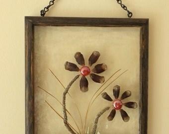 Rustic Wall Decor, Suncatcher, Pine Cone Flowers