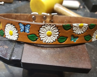 Leather Dog Collar, Daisy's, butterflies, Flowers. custom made, hand crafted, personalized,