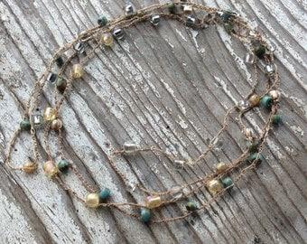 Crocheted Premium Czech Glass Necklace