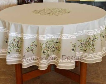 Wonderful French Provence Petite Olive Taupe 70 Inches Round Cotton Tablecloth    French Country Design Tablecloths